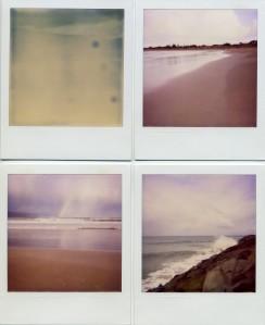 Four polaroids of the sea